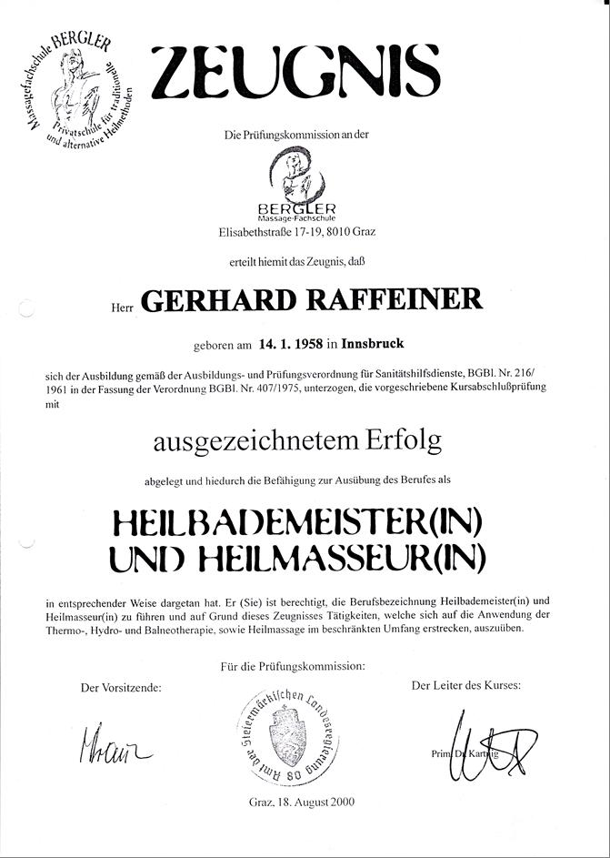 Diplom Heilmasseur + Heilbademeister Gery RGR