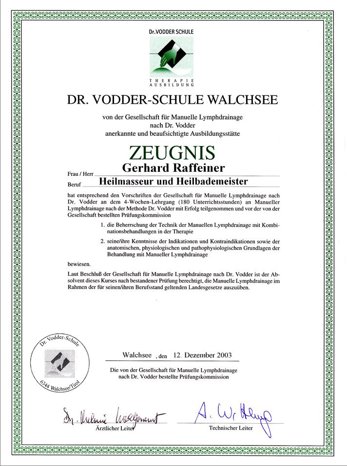 Dr. Vodder Lymphdrainage Dekret Gery RGR