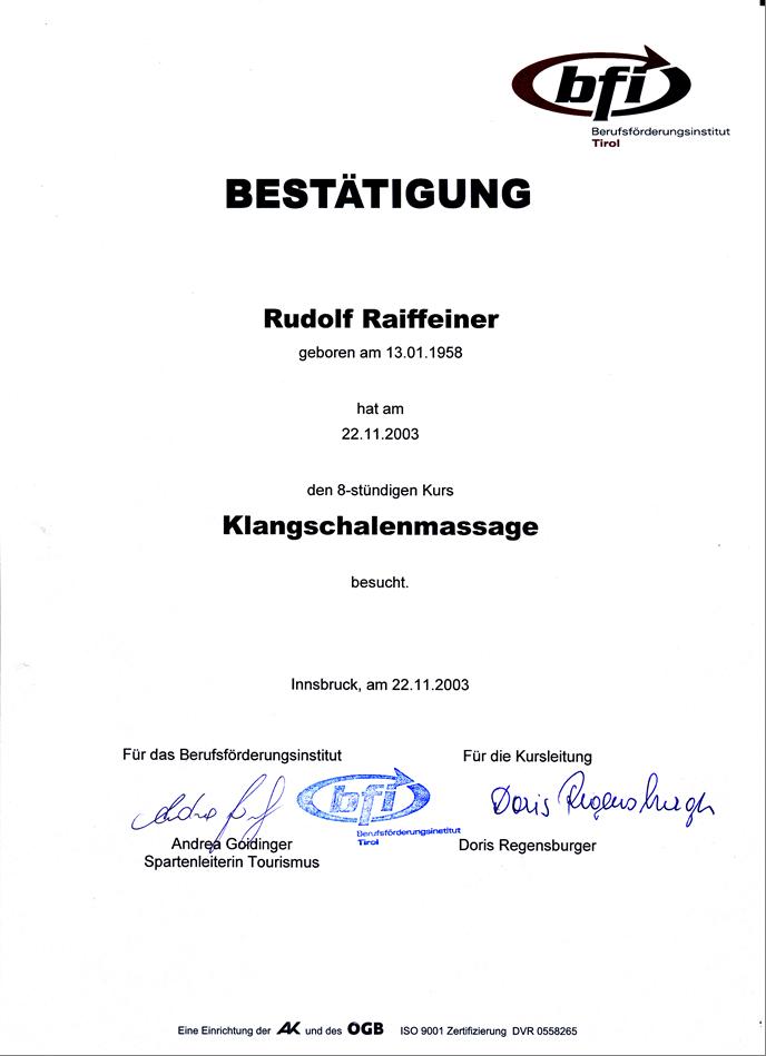 Klangschalen Massage Dekret Rudy RGR