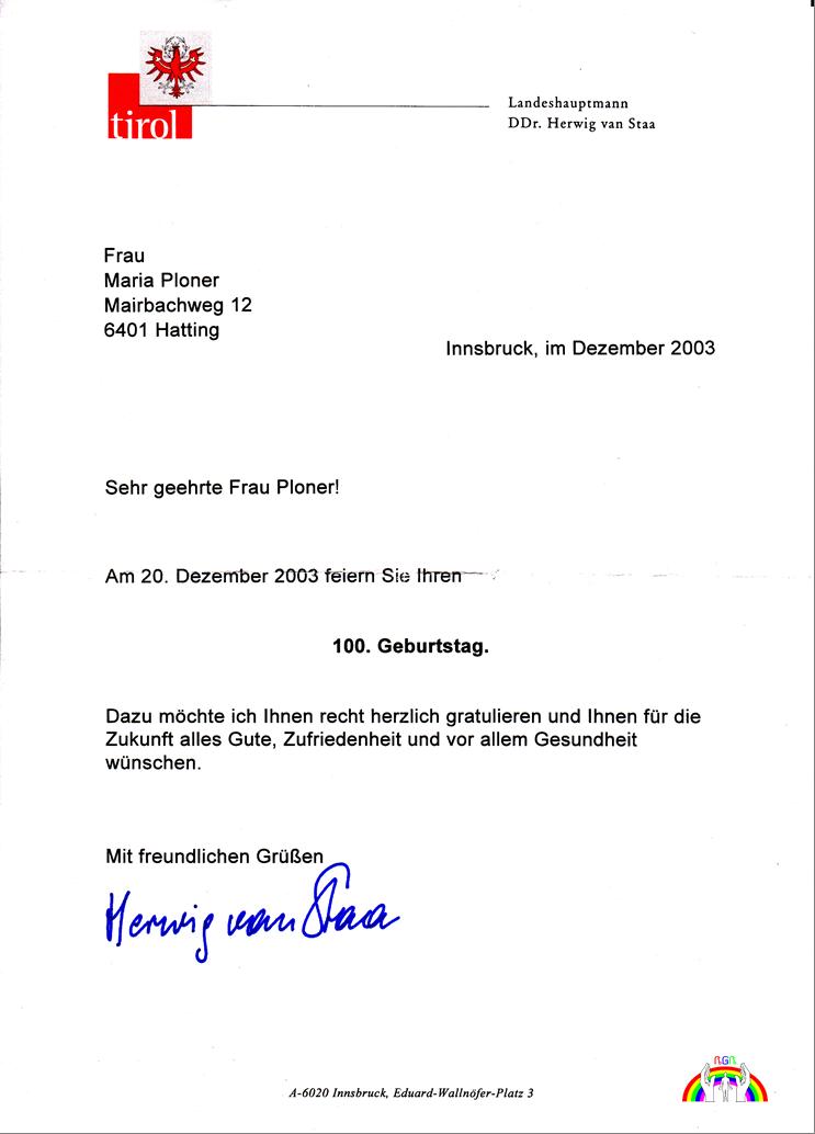 Gratulation vom Landeshauptmann Tirol für Ploner M. RGR